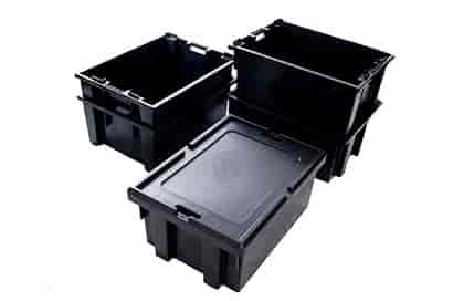caixa plástica empilhável com tampa